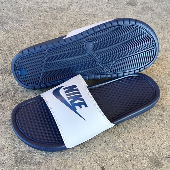 34ad235b0d150 NIKE BENASSI SLIDES JUST DO IT JDI GREY DARK BLUE